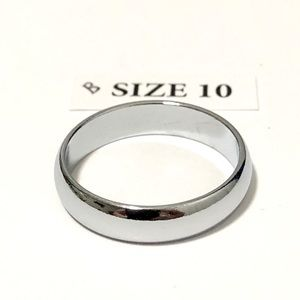 Men's / Women's Silver Tone Ring, Size 10
